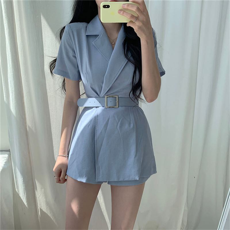 HziriP Office Ladies Jumpsuit 2019 Fashion Elegant OL Short Sleeve Sashes Playsuit Suit Collar Wide Leg Shorts Rompers Overalls