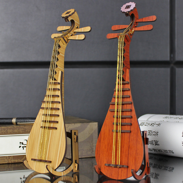 creative DIY wooden lute model to be assembled musical instruments ornaments wood decoration wood furniture shooting props
