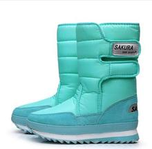 New Thick Scottish Tartan thickening thermal Tube Snow Boots outdoor Women Winter Boots Waterproof Heel Snow Boots
