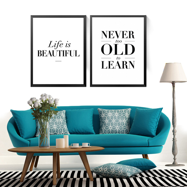 Life Quotes Canvas Painting Life Is Beautiful Wall Picture Never Too ...