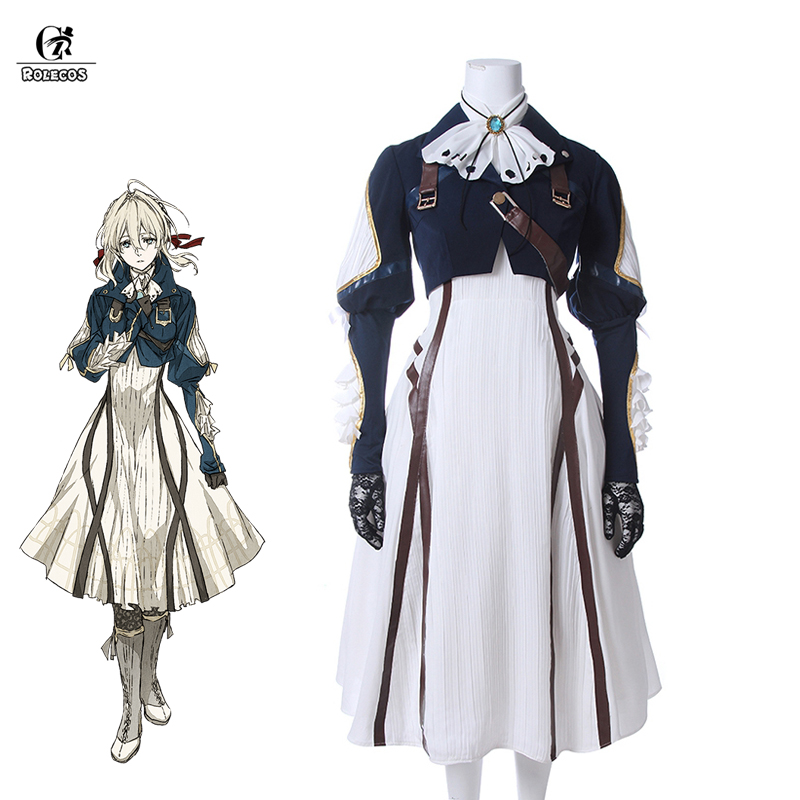 ROLECOS Violet Evergarden Cosplay Costume Anime Cosplay Violet Evergarden Costume For Women Halloween ( Top + Dress + Gloves )