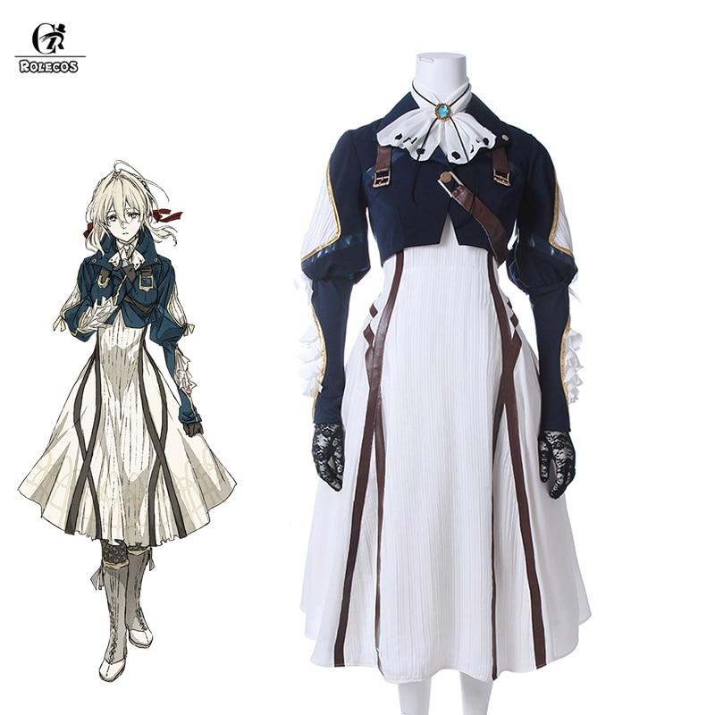 ROLECOS Violet Evergarden Cosplay Costume Anime Cosplay Violet Evergarden Costume For Women Halloween ( Top + Dress + Gloves )