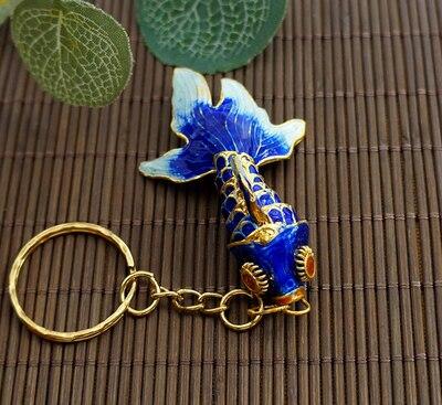 Маленький креативный эмалированный брелок с золотой рыбкой, брелок с рыбкой, китайский этнический перегородчатый ювелирный аксессуар, брелок, Подарочная подвеска-Шарм - Цвет: Синий