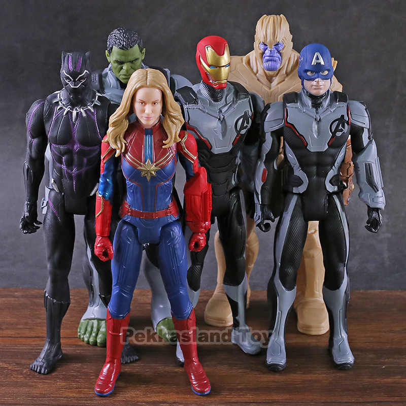 Marvel Titan Hero Power FX Avengers Endgame Thanos Hulk Captain America Marvel Iron Man Black Panther PVC Action Figure ของเล่น
