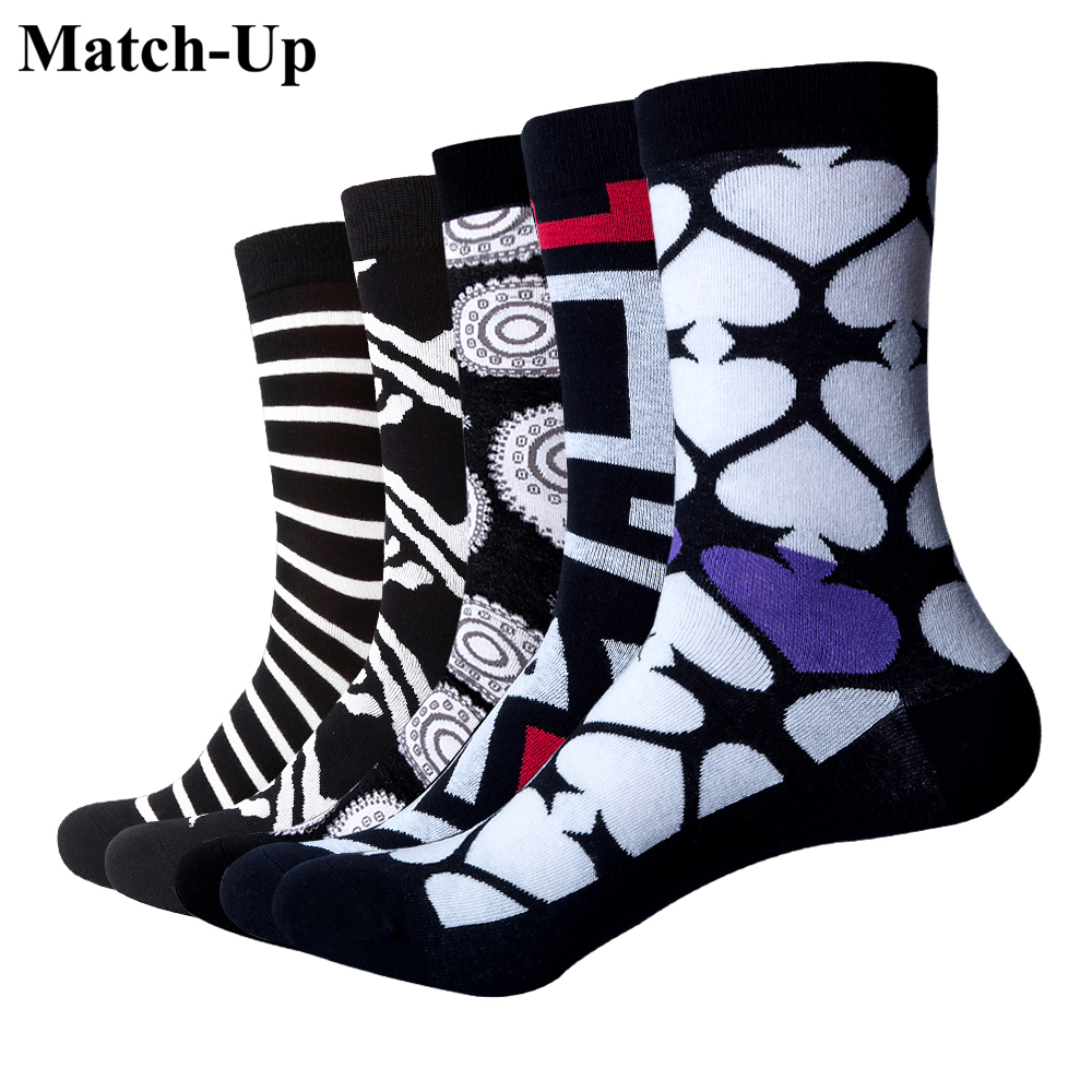 Match-Up Mens New Arrival Cool cotton Business men socks Patchwork Pattern Fashion Brand Boys socks(5pairs/lot)