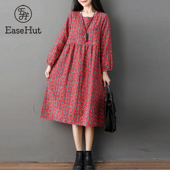 e58a7da94 EaseHut de otoño Casual de manga larga XXL mujeres Vintage impreso algodón  de lino Midi-Carf
