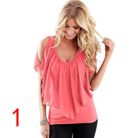 J51994 Summer Shirts V Neck Sexy Lady Shirts