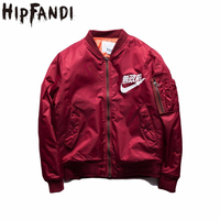 Anarquía HIPFANDI Ma1 Bomber Jacket 2017 invierno chaquetas Piloto prendas de Vestir Exteriores de Los Hombres Del Ejército Verde Kanji Japonés Merchandising Capa De Vuelo