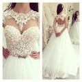 O-Neck Top Lace A-line White Tulle Bridal Dresses 2016 Open Back Sexy Ivory Bohemian Wedding Dress
