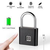 Golden security keyless USB rechargeable fingerprint smart padlock quick unlock Zinc alloy door loker Box Keyed door lock