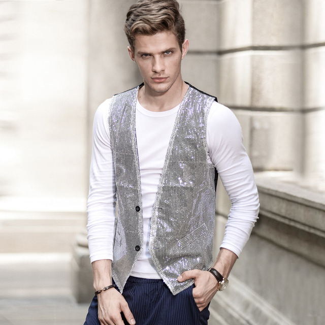 New Male Sequin Vest  Waistcoat  Stage Dance Party Photography Bar Performing Costume Show