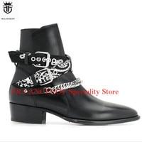 FR. LANCELOT/2019 г. модные черные мужские ботинки из натуральной кожи, ботильоны с серебряными цепочками и пряжками, обувь на низком каблуке для му