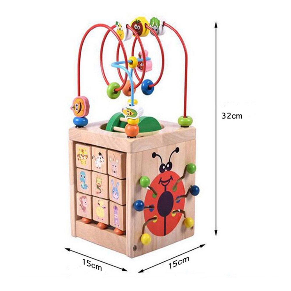 Perle en bois labyrinthe activité boîte Cube jouets pour enfants bois multi-fonction ronde perles boîte unisexe enfants Puzzle jouets éducatifs
