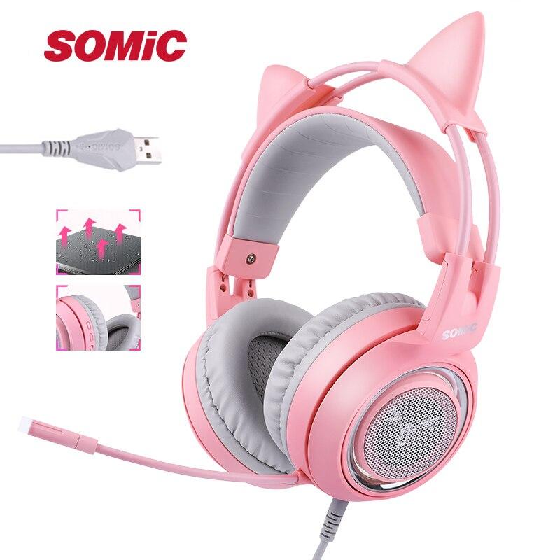SÔMICA G951 Rosa Gato Virtual 7.1 Com Cancelamento de Ruído Fones De Ouvido Fone de ouvido de Jogos Vibração LEVOU USB Fone de Ouvido Menina Fones de Ouvido para PC