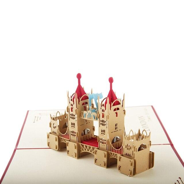 Red London Bridge Handmade Laser Cutting Card Bulk 3D Pop Up Custom Greeting For Birthday