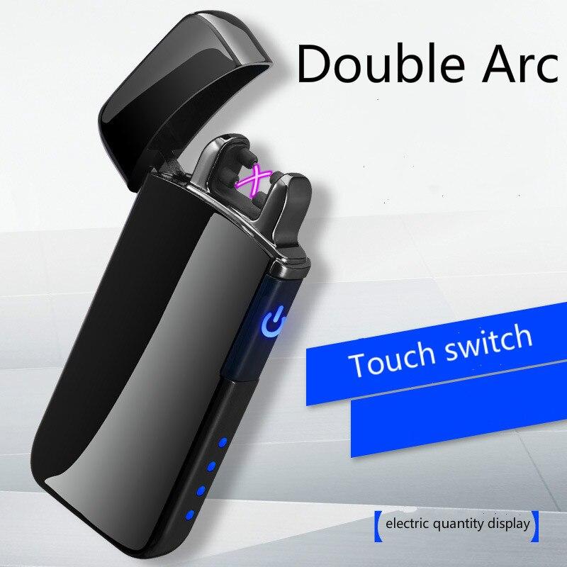 Toque de Indução à prova de vento Criativo Exibição Quantidade Elétrica USB Duplo Arco de Plasma Mais Leve Isqueiros do Charuto Cigarro Eletrônico
