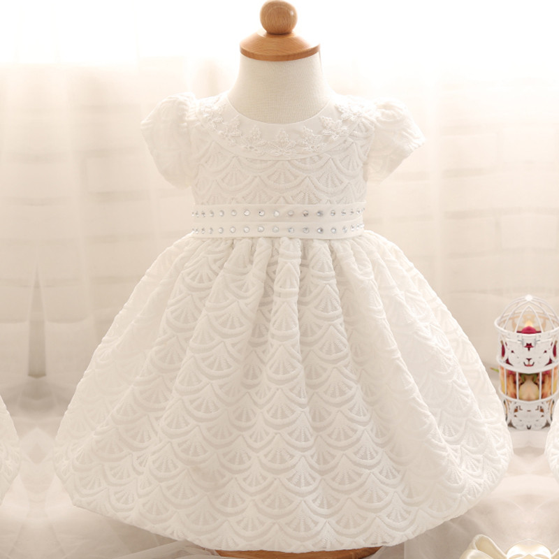 Cute Newborn Dress White For Infant Baby Christening Gown