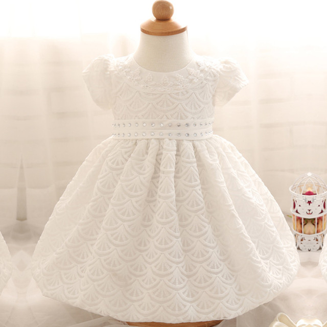 Nascido bonito Vestido Branco Para O Infante Do Bebê Batismo Batismo Vestido Da Criança Meninas de Renda Branca Vestido de Recém-nascidos Da Criança Vestidos de Chiffon