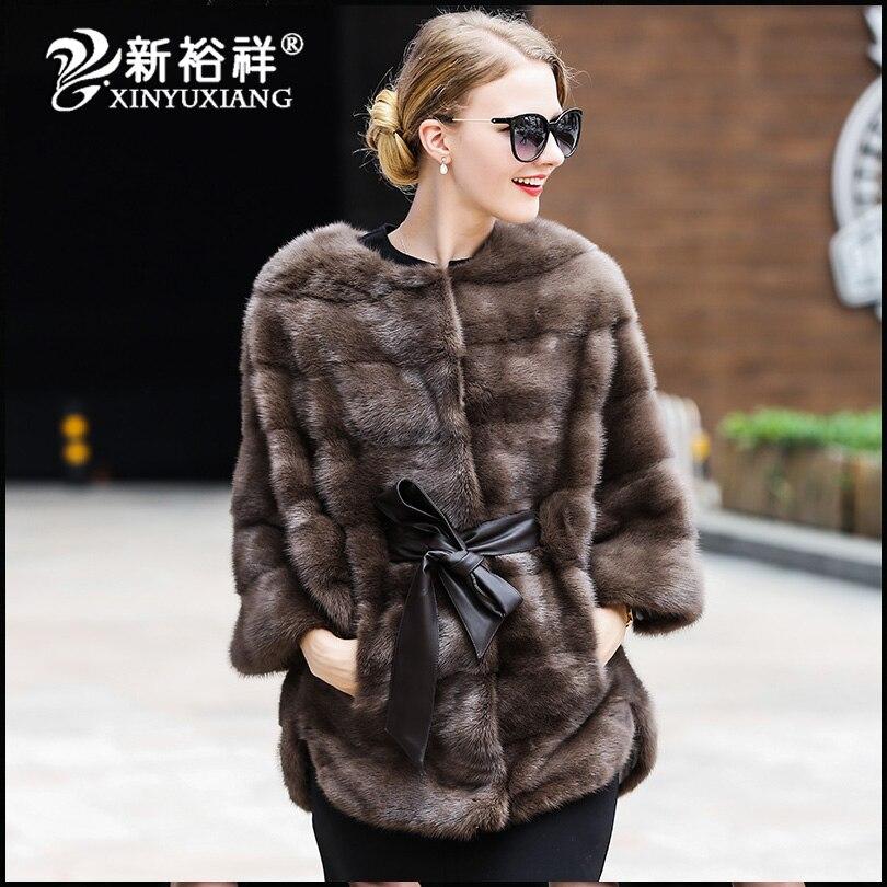 Mode de luxe réel vison fourrure manteaux automne hiver femmes pleine peau épaisse chaude fourrure ceinture veste couleur naturelle femelle Mex outwear