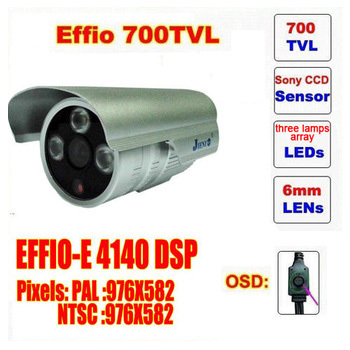 Free shipping  mini bullet camera sony effio 700 tvl three lamps array led infrared osd menu waterproof ir 20m c571h