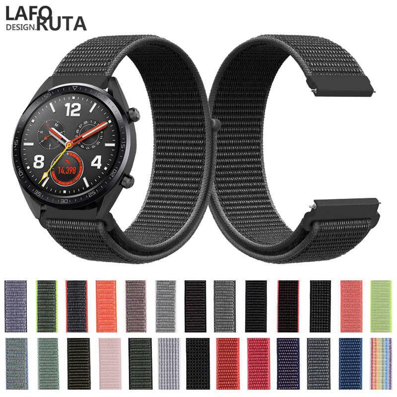 Laforuta עבור Huawei GT שעון רצועת להקת ניילון 22mm שחרור מהיר רצועת השעון Huami Amazfit צמיד כבוד קסם צמיד לולאה