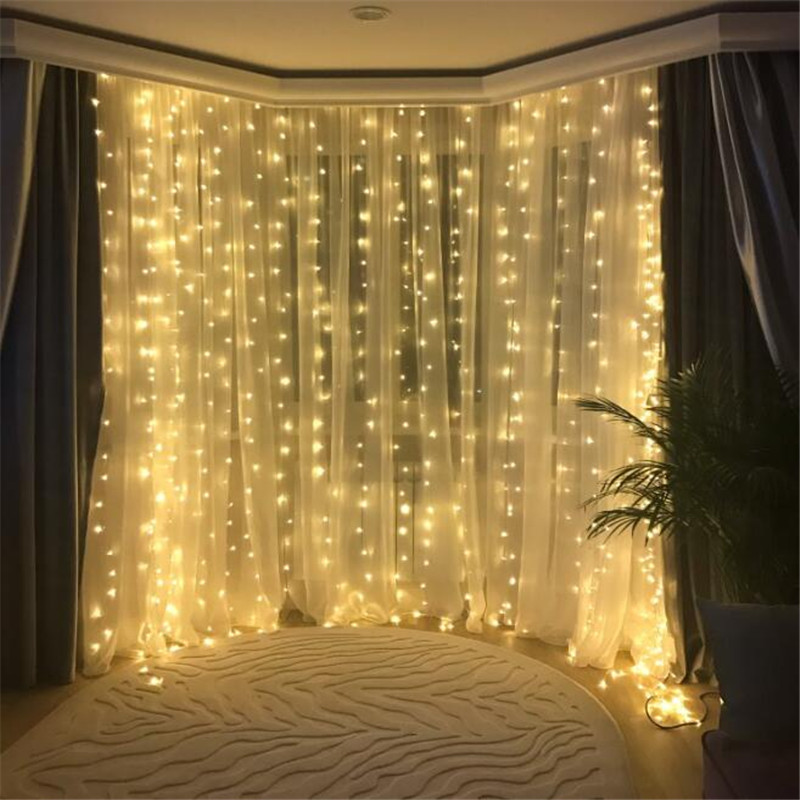 Twinkle Star 3 3M 300LED Window Curtain Remote String Light for Wedding Party Home Garden Bedroom Outdoor Indoor Wall Decoration in Holiday Lighting from Lights Lighting
