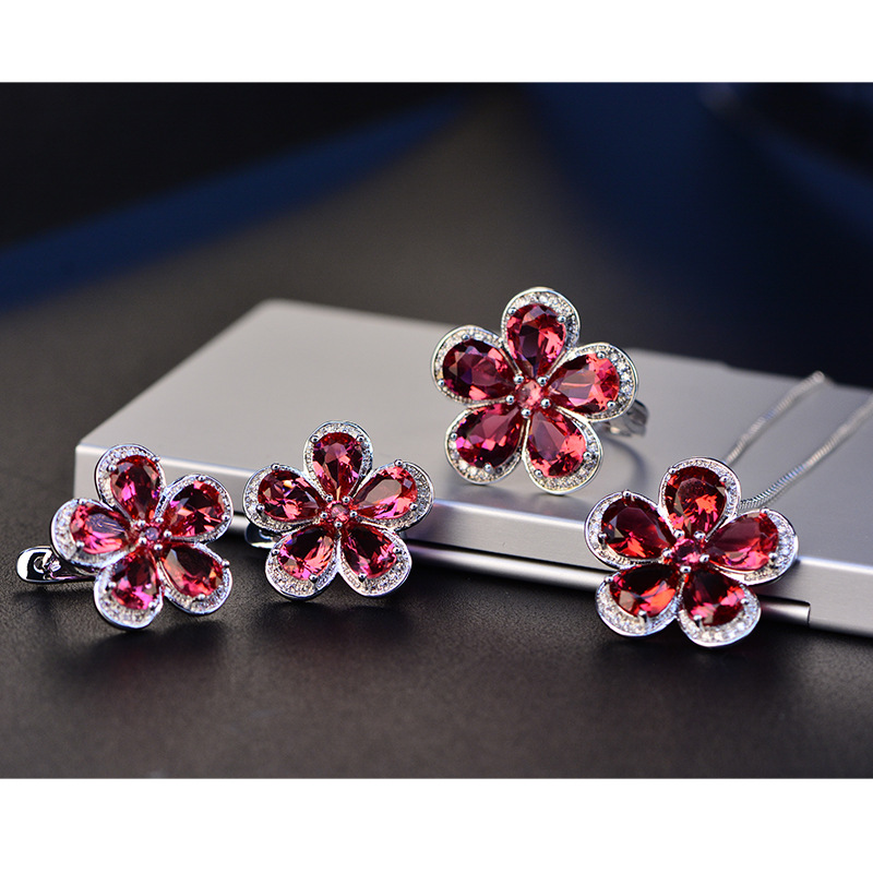 HTB1qPcPQcfpK1RjSZFOq6y6nFXaj PANSYSEN Luxury Flower Design Ruby Gemstone Clip Earrings for Women Solid 925 Sterling Silver Jewelry Wedding Christmas Gifts