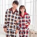 Parejas pijama de algodón de manga larga hombres la ropa de dormir de gran tamaño de primavera y otoño ropa del hogar a cuadros lindo kigurumi pijamas XXXL
