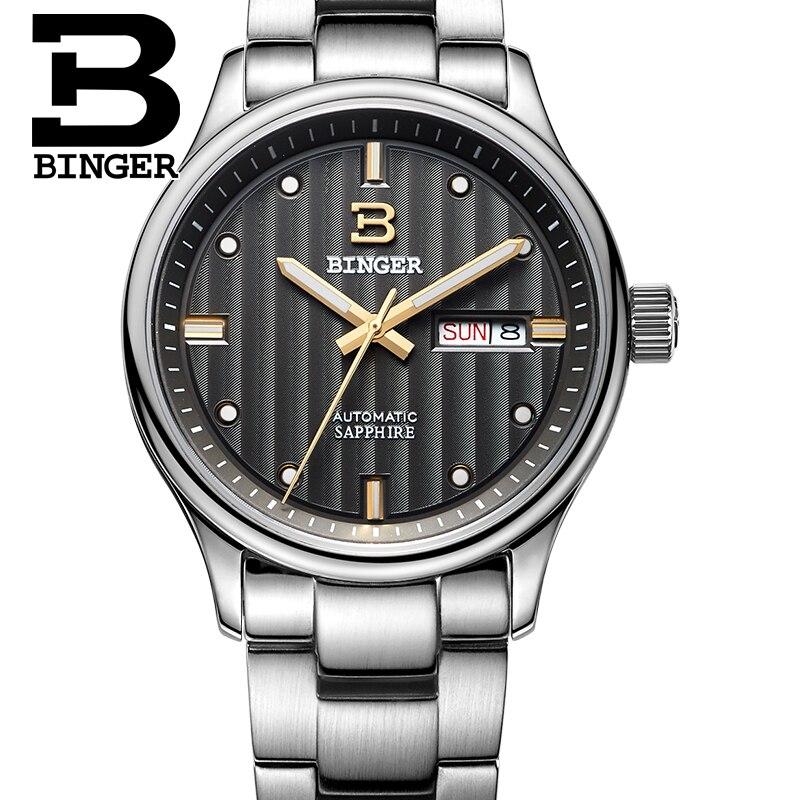 สวิสเซอร์แลนด์นาฬิกาผู้ชายแบรนด์หรูนาฬิกา BINGER ธุรกิจนาฬิกากลไกอัตโนมัติชายนาฬิกาไพลินเต็มรูปแบบสแตนเลส B5006 9-ใน นาฬิกาข้อมือกลไก จาก นาฬิกาข้อมือ บน   2