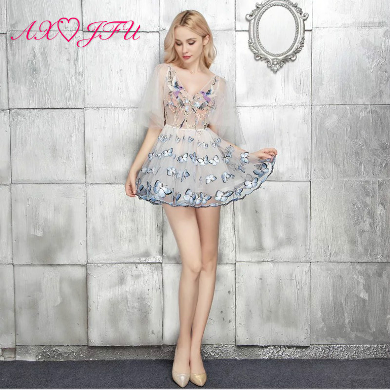 AXJFU Fashion White V-neck Lace Ruffles Perspective Suit Beading Butterfly Illusion Short Evening Dress Little White Dress