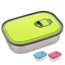 420 мл нержавеющая сталь Ланч-бокс студенческий Bento box уплотнение с крышкой миска для свежей еды герметичный контейнер для хранения продуктов