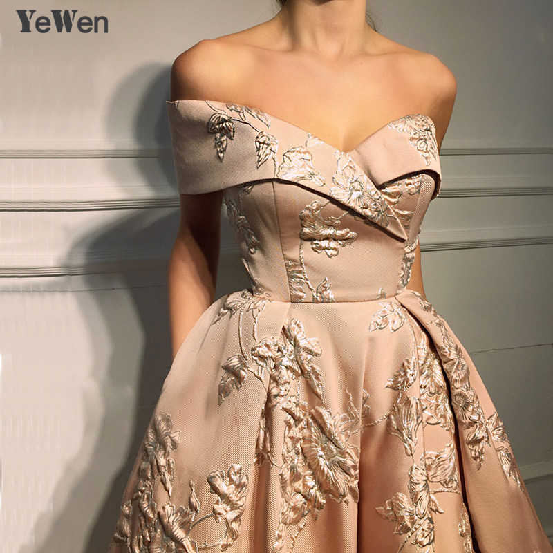 New Off Shoulder Sexy Pink   Evening     Dresses   2019 3D Flower Fashion Formal   Evening   Gowns Long Asymmetric Elegant   Dress   Party