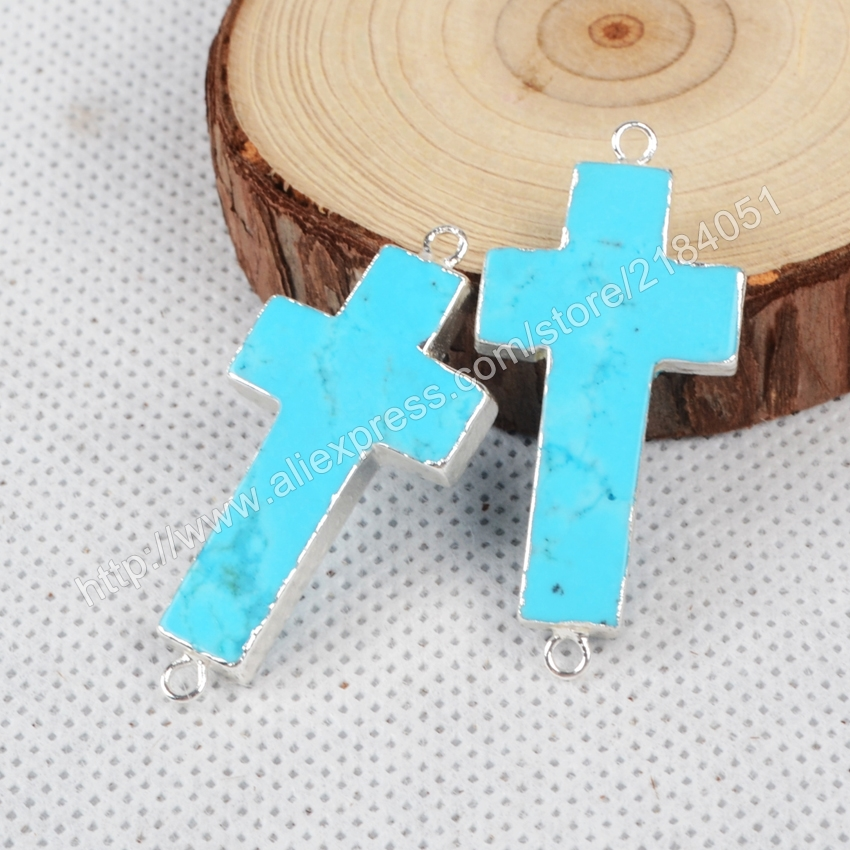 Cross Blue Howlite Turquoise Sliver Plated Necklace Connector Beads Double Bails Making Jewelry S0872