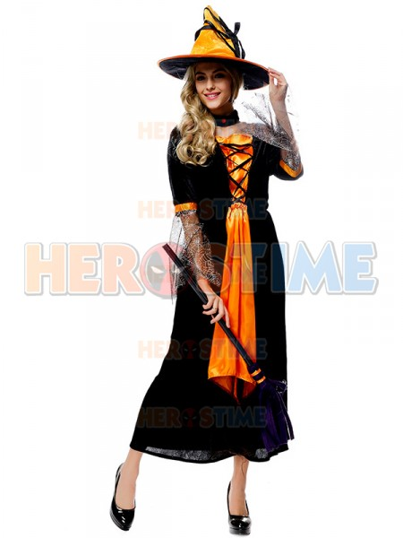 Halloween Costumes Womens Black And Orange Long Witch Dress