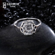 GOMAYA 925 Sterling Silver Rings Vintage Style Flower Shaped Fine Jewelry Retro Ring For Party Gift Antique Classic Anillo