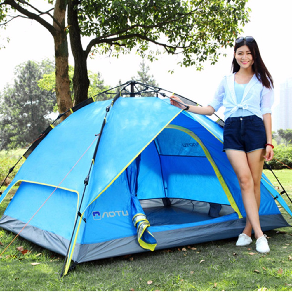 Waterproof 3-4 Person 210*210*150cm Double layer Automatic Instant Outdoor Camping Tent Hot Sale high quality outdoor 2 person camping tent double layer aluminum rod ultralight tent with snow skirt oneroad windsnow 2 plus