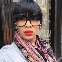 Большие прозрачные линзы Квадратные Солнцезащитные очки Толстая рамка винтажные затемняющие очки для женщин роскошный бренд знаменитостей негабаритные солнцезащитные очки