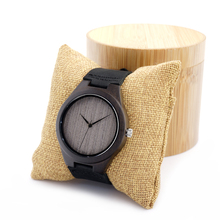 BOBO BIRD Ebony Wooden Watches Men Handmade Simple Design Erkek Watches with Leather Band as Gifts