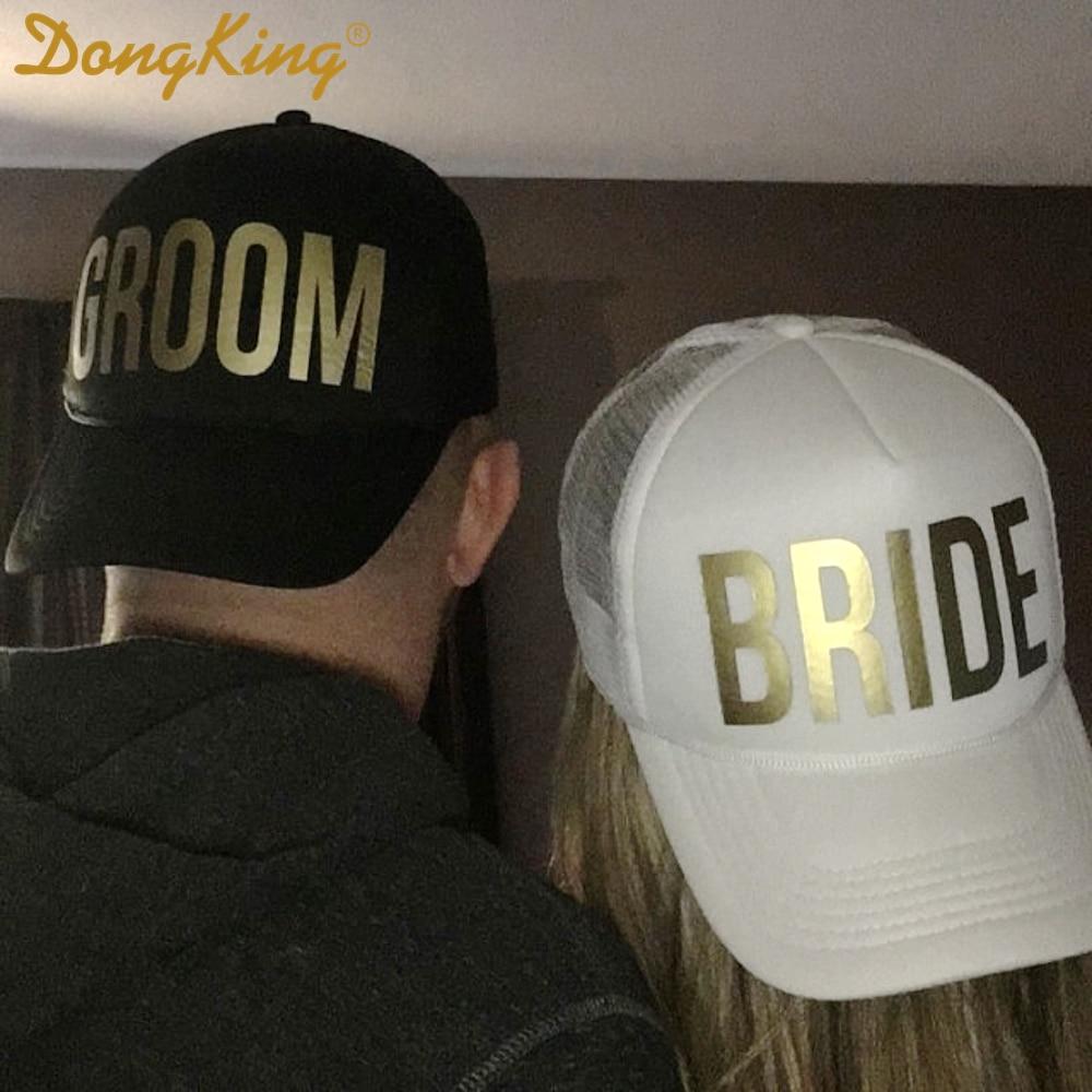 12cddd45 DongKing GROOM BRIDE SQUAD MOH Golden Print Bachelorette Hats Wedding  Prepare Wear Trucker Caps TEAM BRIDE