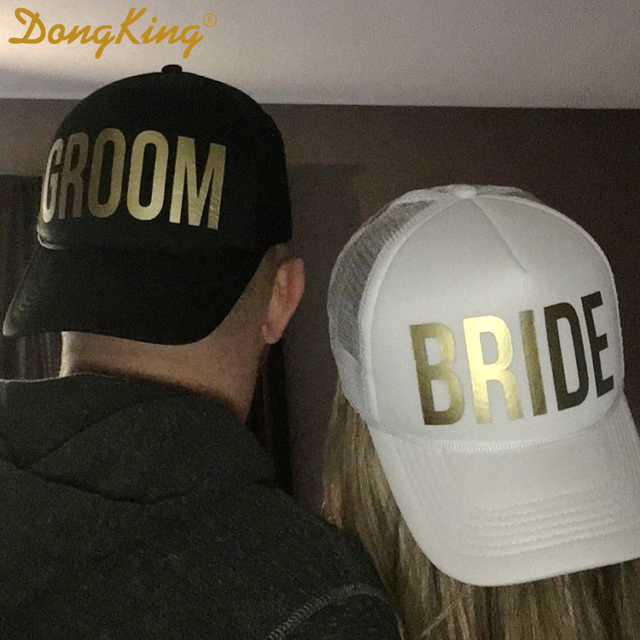 3f2a3f9a DongKing GROOM BRIDE SQUAD MOH Golden Print Bachelorette Hats Wedding  Prepare Wear Trucker Caps TEAM BRIDE Hat Bridal Party Gift