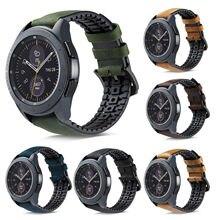 Bracelet de montre en cuir véritable en Silicone 22mm pour Samsung Galaxy Watch 46mm pour Samsung S3 Frontier/Classic