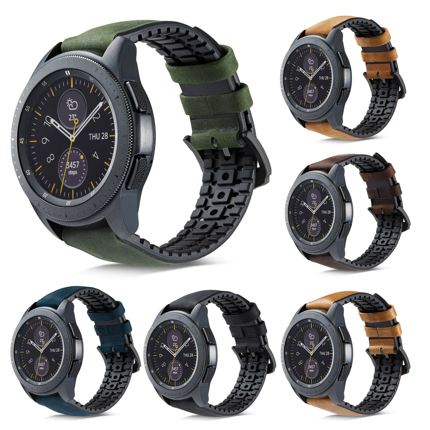 Silicone Real Leather Watchband 22mm For Samsung Galaxy Watch 46mm Band Wrist Strap For Samsung S3 Frontier/Classic Watch Strap
