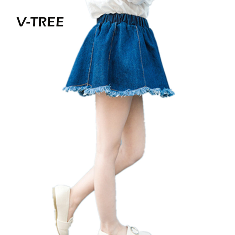 V-TREE Baby Girls Fashion Denim Skirts Girls Mini Cute Brand Skirt Kids All-match Denim Skirts Teenagers School Kids Clothes