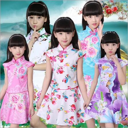 Summer Kids Dresses Styles Chinese Cheongsams For Girls Traditional Chinese Dress For Children Tang Suit Girls Clothing easter gift summer new style cheongsams for little girls chinese dress for children tang suit baby girl princess dresses clothes
