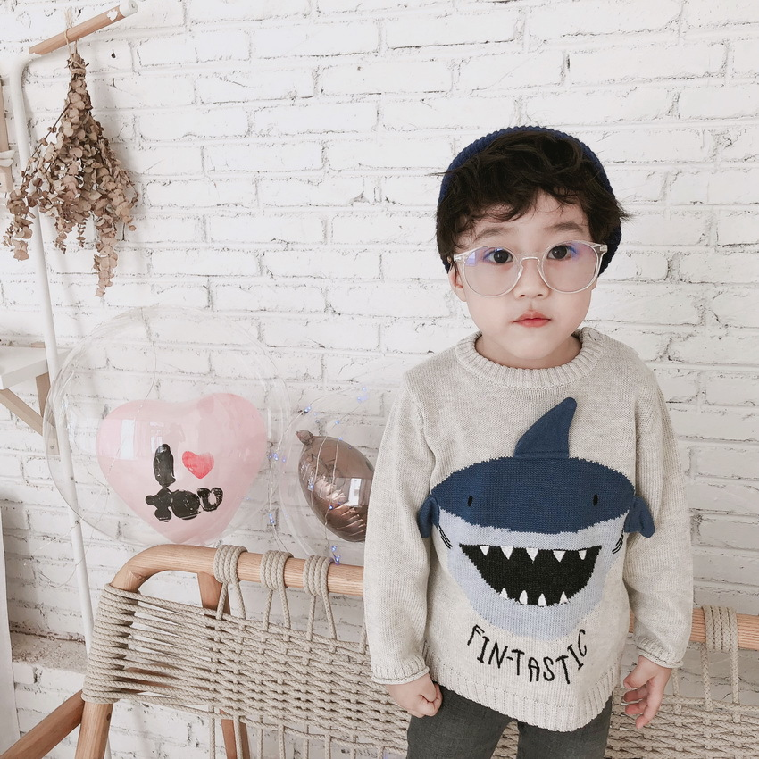 children clothing boys casual clothes knitted kids sweaters Cartoon shark pattern pullover children sweater boys knitted