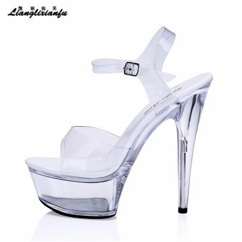 LLXF stilettos US:3-11 12 13 summer Band 15cm Thin Heels Crystal Platformwomen shoes Ankle Strap Pumps lady Buckle Party sandals us 3 12