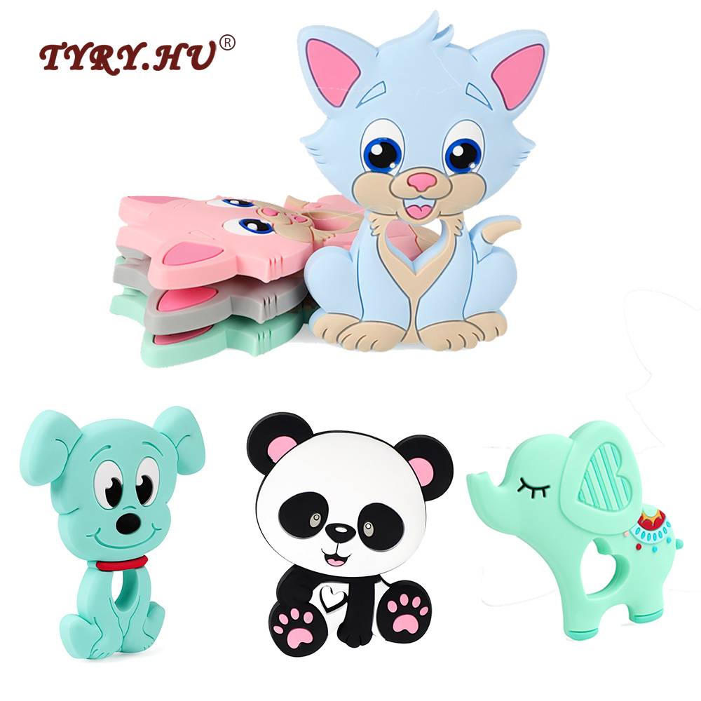TYRY.HU Baby Teether Rodent Silicone Puppy Cat Animal Beads DIY Pacifier Chain Necklaces Pendant Accessories Teething Toys(China)