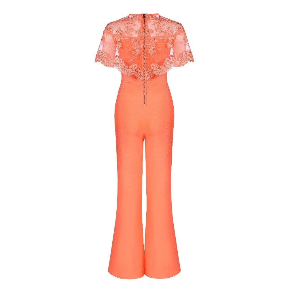 Dentelle Étagères O Nouvelle Celebrity Party cou Mode Femmes Sexy Bandage Orange 2018 Serrer Moulante Combinaisons W0gYq