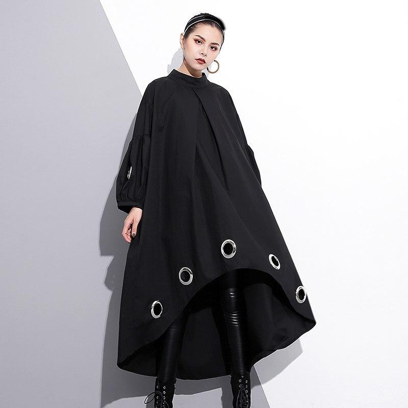LANMREM 2018 Autumn New Pattern Ireegular Dress Full Lantern Sleeve Hollow Out Metal Ring Big Size Ladies Fashion Clothing JE292