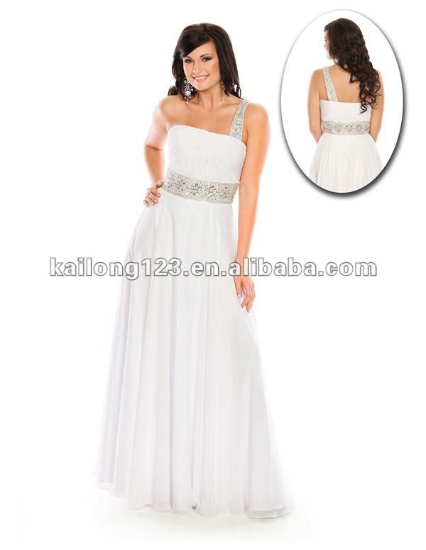 Grecian One shoulder A line Long Turquoise White Ruched Beaded ...